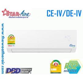 แอร์ Star Aire ติดผนังอินเวอร์เตอร์ (INVERTER Wall Type) เบอร์ 5 น้ำยา R32 รุ่น CE-IV/DE-IV,DM-IN ขนาด 9,000BTU-31,000BTU